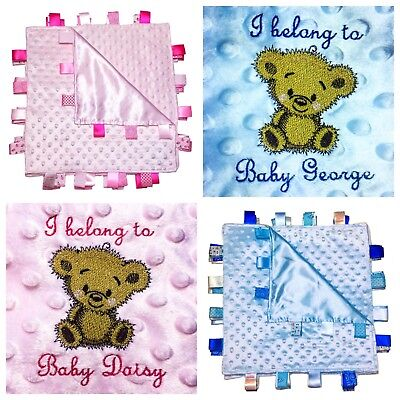 Personalised baby comforter security blanket gift tag boy girl soft pink blue