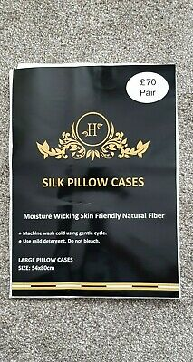 Pair of 100% Mulberry Silk Pillow cases Anti-Ageing Skin Friendly RRP £70 pair
