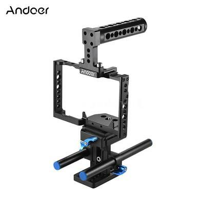 Andoer Aluminum Alloy Camera Cage + Top Handle + 15mm Rod Baseplate Kit G4F6