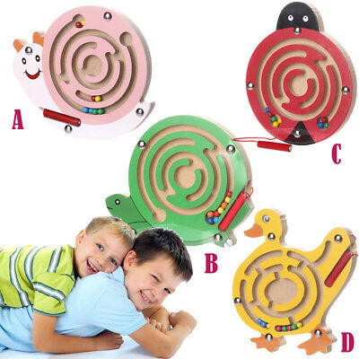 UK Kids Magnetic Maze Toys Kids Wooden Game Toy Wooden Intellectual Jigsaw Board