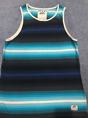 42b52aef6b VANS OFF THE Wall Muscle Blue Striped Men s Sleeveless Tank Top ...
