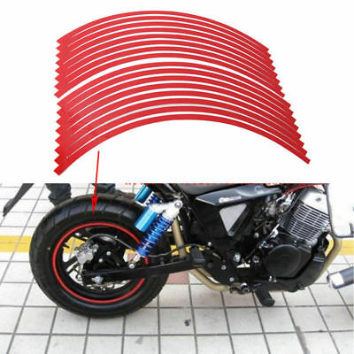 16x Strips Motorcycle Car Bike Wheel Sticker Reflective Rim Stripe Tape Decal YG