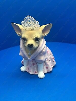 "AYE Chihuahua ""Princess"" Pink Glittery Dress - Dog Figurine By Westland #13355"