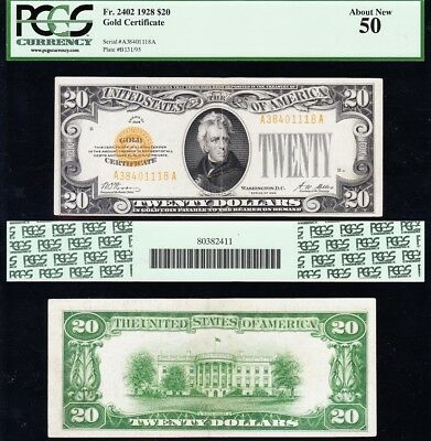 Awesome HIGH GRADE 1928 $20 *GOLD CERTIFICATE*! PCGS 50! FREE SHIP! A38401118A
