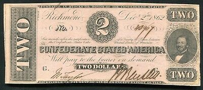 T-54 1862 $2 Two Dollars Csa Confederate States Of America Currency Note Au