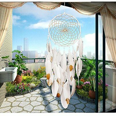 30'' Large Dream Catcher White & Gold Feathers Wall Home Office Hanging Ornament