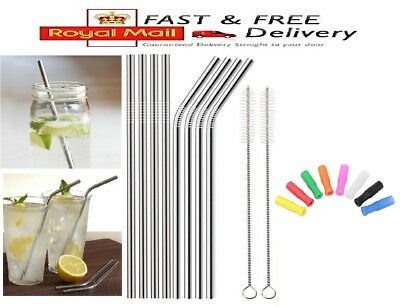 Metal Drinking Straws Stainless Steel Drinks Party Reusable Bar Silicone Tips