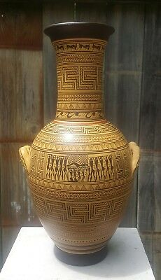 "Ancient GREEK 12"" VASE Replica ~ Hand Painted GEOMETRIC Pottery SIGNED Maraespis"