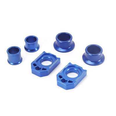 Blue CNC Chain Adjuster Axle Block Front & Rear Wheel Hub Spacer Kit For Yamaha