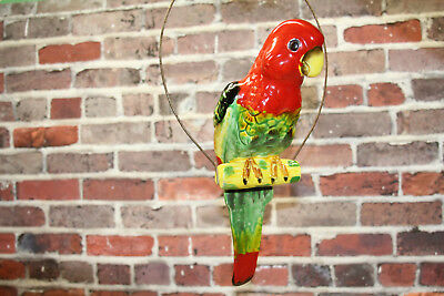 Large Vintage Ceramic Parrot Macaw Bird Hanging Planter Vase With Perch