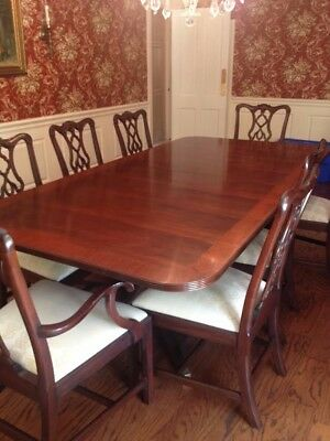 Henkel Harris Mahogany Double Pedestal Dining Room Table Chairs