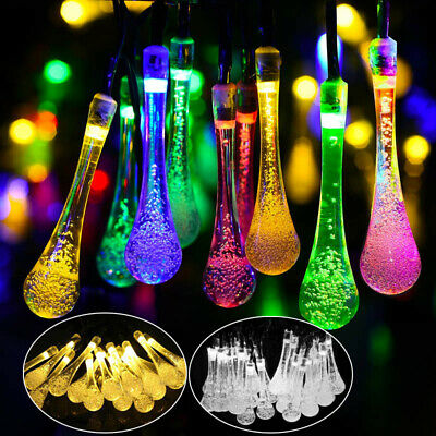 Water Rain Drop 30 LED Solar Garden Fairy String Lights Outdoor Patio Decoration