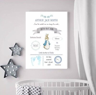 Beautiful Peter Rabbit Nursery Decor A4 Canvas Baby Girl Baby Boy Christening