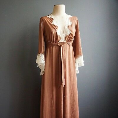 Vintage Jolie Silky Nightgown Robe Long Negligee Brown Ivory LaceBell Sleeves