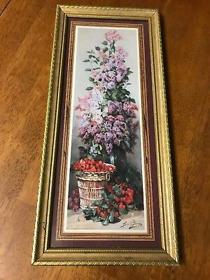 Homco Home interior Bede Labaume lilac and strawberry picture 21.5×9.5 picture.