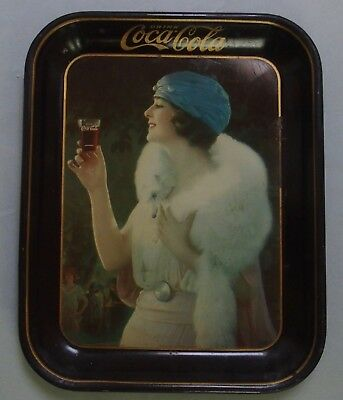 """Excellent 1925 """"party Girl"""" Advertising Coca Cola Tray, Not Tip Pretty Girl"""
