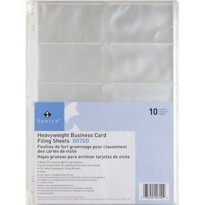 Heavy Weight Business Card Filing Sheets