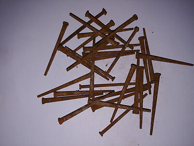 """Lot of 30 Rusty 3"""" Flat Head Nails Nice and Rusty! #6"""