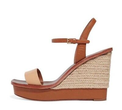 19c0a1300 TORY BURCH MALAGA Brown Leather Platform Wedges Sandals 7 -  179.99 ...