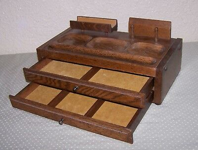 Vintage Mens Oak Wood Dresser Top Valet 2 Felt Lined Drawers Jewelry Box Chest