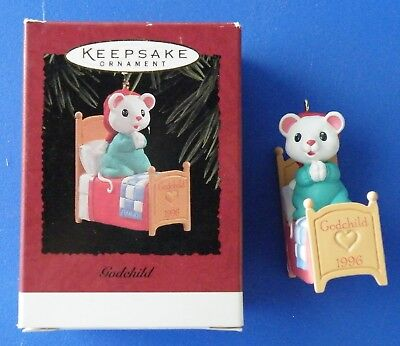 Godchild Hallmark ornament 1996 mouse praying in bed