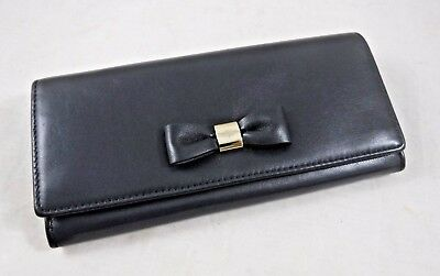 New In Box Womens Mulberry Bow Black Continental Leather Wallet Pocketbook