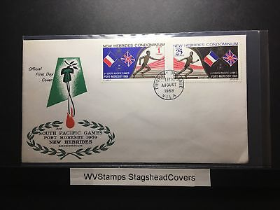 New Hebrides FDC 13 Aug 1969 South Pacific Games Flags