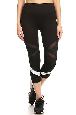 d48e510f54 Black White Cutout Womens Leggings Mesh Cropped Athletic Activewear Criss  Cross