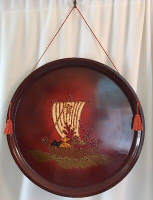 "Antique 24"" Marusei Decorative Hanging Tray Lacquer Japan Chinese Asian Large"