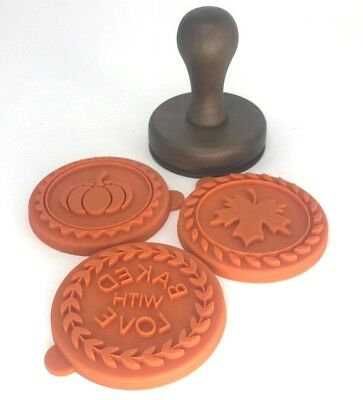 Williams Sonoma Fall Cookie Stamps (3) Pumpkin Leaf Round Silicone Autumn NEW