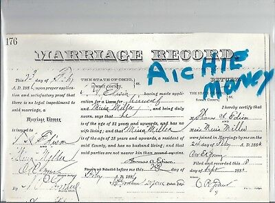 THOMAS ALVA EDISON: 1886: Copy Of His Marriage Certificate For 2Nd Marriage
