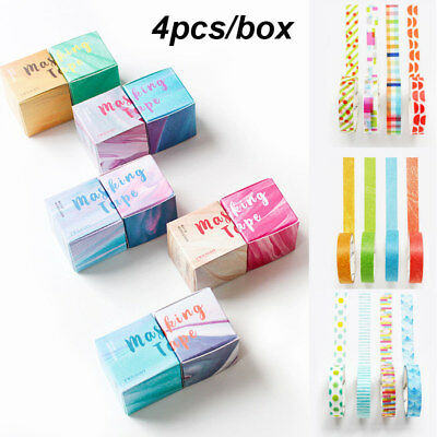 4pcs/set Decorative Masking Washi Tape DIY Paper Sticker Scrapbooking With Box