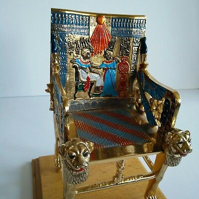 Rare King Tut Throne Seat Fine Ancient Egyptian Pharaoh Gold Hieroglyphic Gods