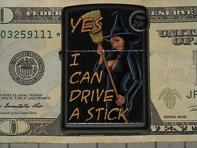 New Zippo USA Lighter 218 Broom I Can Drive a Stick 41689-28917 Windproof Flame