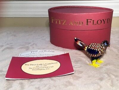 FITZ FLOYD GLASS MENAGERIE FIGURINE BIRD/CHICKEN in Box