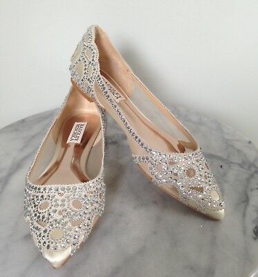 cbd65a1041b New Badgley Mischka Sz 6.5 Gigi Ivory Flats Crystal Rhinestone Wedding Shoes