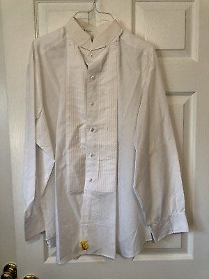 Men's White Long Sleeve TUXEDO Dress Shirt, Size 3XL, L&M, Ribbed, Wedding, Prom