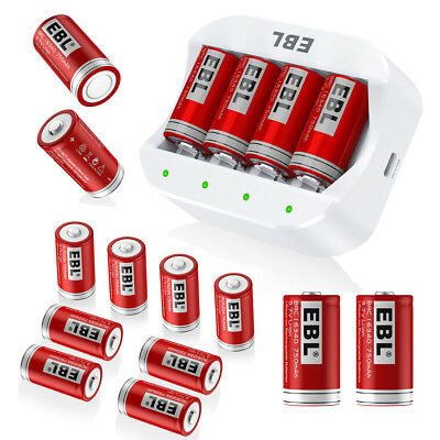 EBL 750mAh 16340 RCR123A Li-ion Rechargable Batteries + 4 Slots Battery Charger