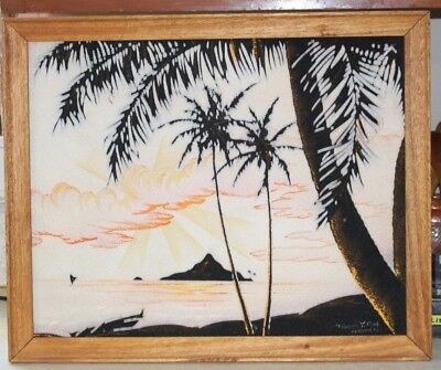 Velvet Oil Painting  / Vintage Original Frank Oda Signed Hawaiian Sunset