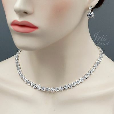 Platinum Plated Clear Cubic Zirconia Necklace Earrings Wedding Jewelry Set 00976