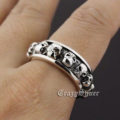 925 Sterling Silver Skull Stack Spinner Men Biker Gothic Ring 8T001 US Size 8~10