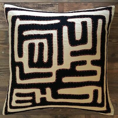 Pottery Barn African Kuba Cloth Pillow Cover 24 Sq Tribal Neutral Mudcloth