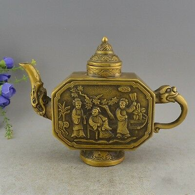 Marked Old Chinese Pure Copper Palace Belle Beauty Dragon Head Wine TeaPot Flago