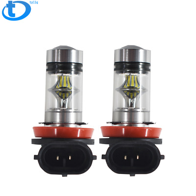 2x H11 H8 H16 100W 6000k Super White Fog Lights 2323 LED Driving Bulbs DRL
