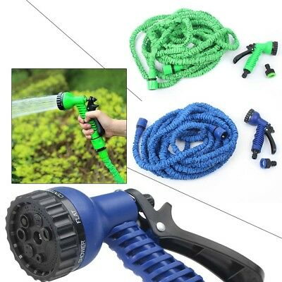 Home Garden Flexible Magic Hose 25 50 75 100FT Car Wash Water Pipe Spray Nozzle