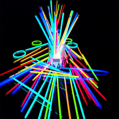 100 Pc Premium Glow Sticks Bracelets Neon Light Glowing Party Favors Rally Raves