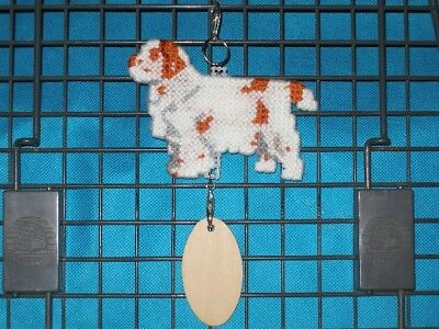 Clumber Spaniel #2 dog crate tag or hang anywhere pet sign ornament art, orange
