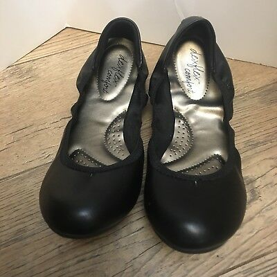 03a7e5e18d7f Dexflex Comfort Black Ballet Flats 8.5 Round Toe Slip On Career Comfortable  Shoe