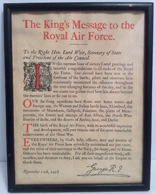 The King's Message To The Royal Air Force November 11th, 1918 Original Period