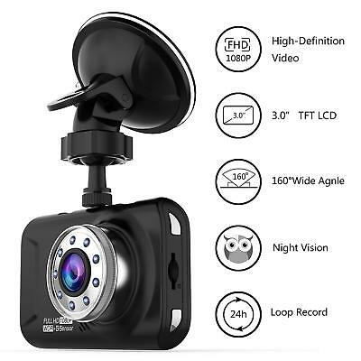 Car Dash Cam w/ HD 1080P 170 Degree Super Wide Angle, G-Sensor, WDR